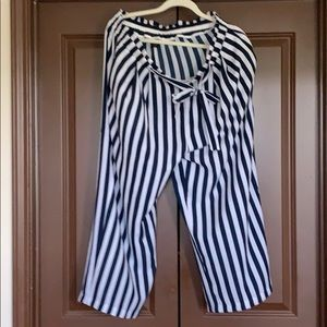 Casual Blue & White Striped Pants